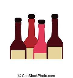 couleur, bouteilles, alcool, ensemble, silhouette