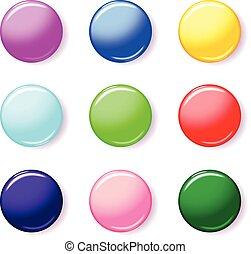 couleur, bouton, ensemble, 3d