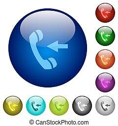 couleur, boutons, appeler, entrant, verre