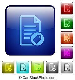 couleur, boutons, document, carrée, étiquetage