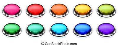 couleur, boutons, ensemble, rond