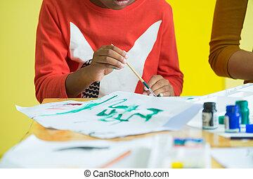 couleur, brosse, noir, haut, éthique, kindergarten., américain, concept., fin, peinture, table, préscolaire, créatif, usage, education