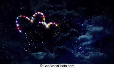 couleur, cœurs, étoile, nuit