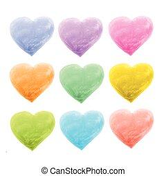 couleur, cœurs, différent, ensemble