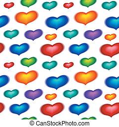 couleur, cœurs, papier peint, seamless