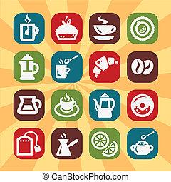 couleur, café, tee, icônes
