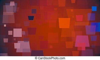 couleur, carrés, en mouvement, rouges