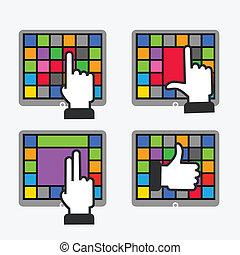 couleur, carreau, interface, à, fondamental, gestes, travailler, à, moderne, gadgets
