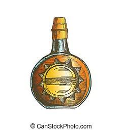 couleur, casquette, bouchon, vecteur, bouteille, élégant, cercle, whisky