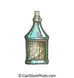 couleur, casquette, bouchon, vecteur, bouteille, vide, dessiné, écossais