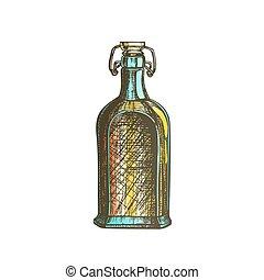 couleur, casquette, chiquenaude, vecteur, bouteille, vide, dessiné, whisky