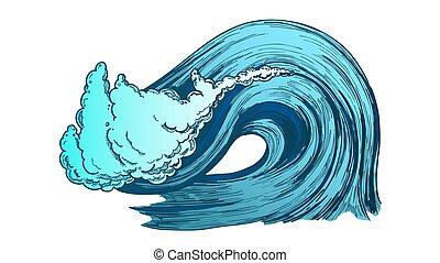 couleur, cassant vague, vecteur, atlantique, orage, océan, ...