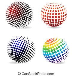 couleur, cercles, halftone