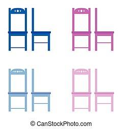 couleur, chaise, ensemble, illustration
