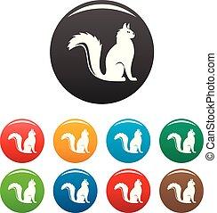 couleur, chat, ensemble, icônes