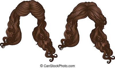couleur cheveux, bouclé, brun
