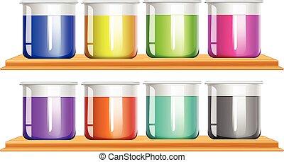 couleur, chimique, différent, vases bec