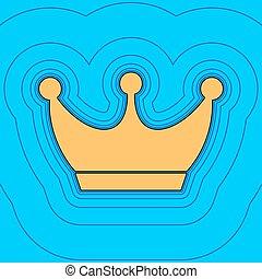 couleur, ciel, couronne, contour, bleu, champ, -, arrière-plan., noir, contours, vector., carte, signe., equidistant, sea., vagues, icône, roi, aimer, île, océan, sable, ou