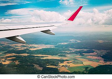 couleur, ciel, forêts, fenêtre, fenêtre., vu, avion, vue