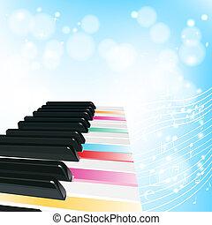 couleur, clés, notes, piano, fond