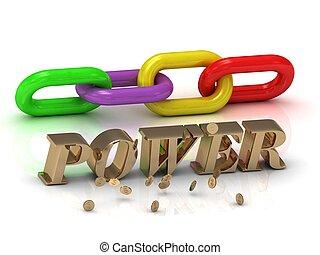 couleur, clair, lettres, chaîne, inscription, power-