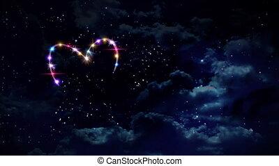 couleur, coeur, étoile, nuit