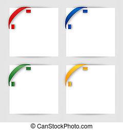 couleur, coin, blanc, papier, ruban