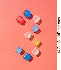 couleur, coloré, space., année, plastique, cubes, figure, ombres, 3, fond, copie, trois, vivant, glace, 2019, corail, pantone