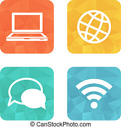 couleur, communication, carrée, icônes
