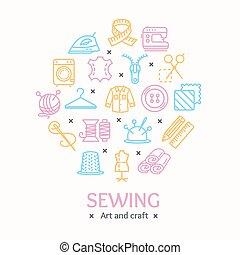 couleur, concept., couture, couture, vecteur, conception, gabarit, ligne, outils, rond, icône