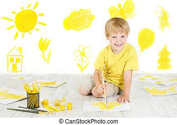 couleur, concept., créativité, jaune, enfant, brush., dessin, heureux