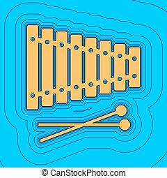 couleur, -, contour, bleu, champ, ciel, arrière-plan., noir, contours, vector., carte, signe., xylophone, equidistant, sea., vagues, icône, aimer, île, océan, sable, ou
