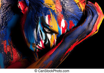 couleur, corps, maquillage, art, créatif