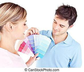 couleur, couple, enamored, salle, choisir