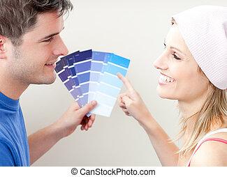 couleur, couple, salle, choisir, charmer