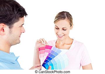 couleur, couple, salle, choisir, enchanté