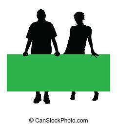 couleur, couple, vecteur, silhouette, illustration