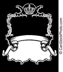 couleur, couronne royale, courbes, une, vendange, bannière