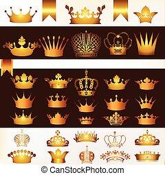 couleur, couronnes, collection, doré, vecteur