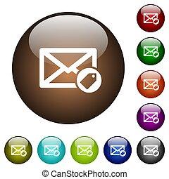 couleur, courrier, verre, étiquetage, boutons