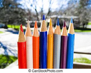 couleur, crayons, 3