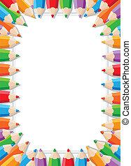 couleur, crayons, cadre