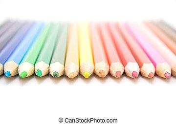 couleur, crayons, différent