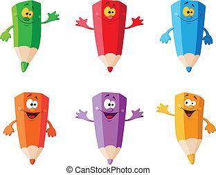 couleur, crayons, ensemble