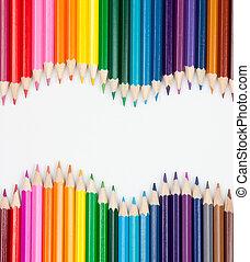 couleur, crayons, ensemble, wave-shaped