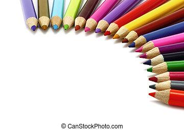 couleur, crayons, fond blanc