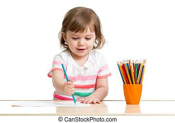 couleur, crayons, girl, dessin, gosse