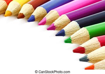 couleur, crayons, gros plan, fond blanc
