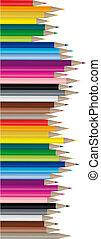 couleur, crayons, image, vecteur, -