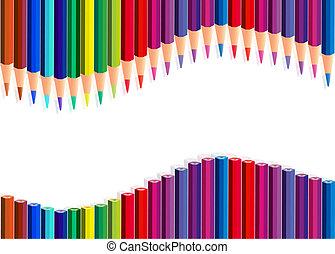 couleur, crayons, vague, sur, blanc